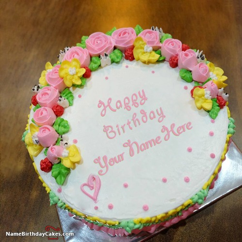 Miraculous Best Birthday Flower Cake With Name Edit Funny Birthday Cards Online Barepcheapnameinfo