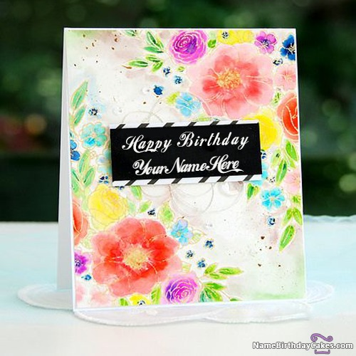 Write Name On Beautiful Flowers Happy Birthday Cards
