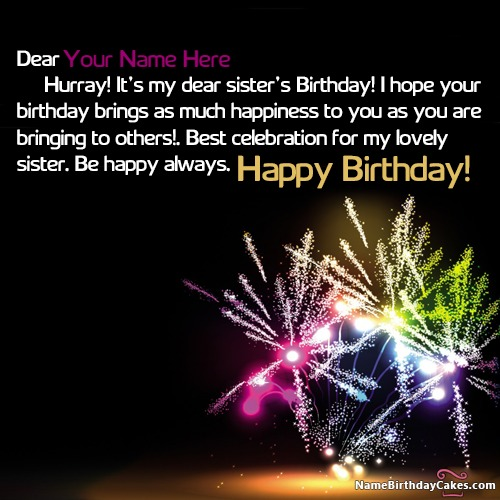 Beautiful Happy Birthday Wishes For Sister With Name & Photo
