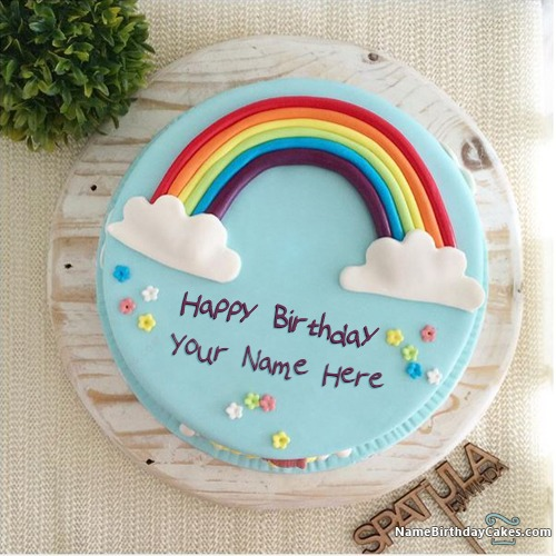 Beautiful Rainbow Cake For Kids Birthday With Name & Photo