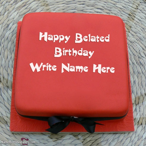Belated Birthday Cake With Name And Photo
