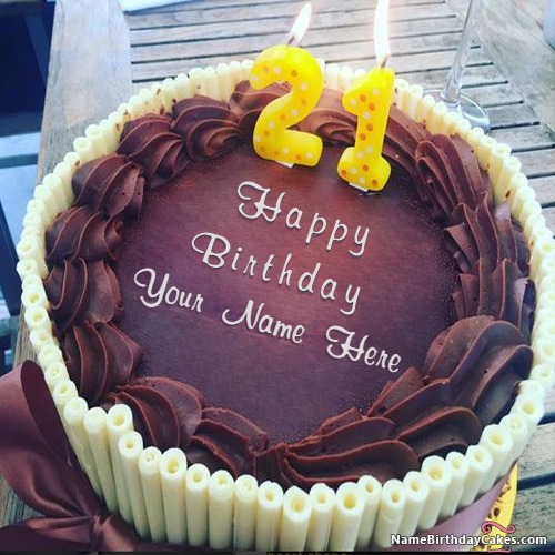 Write Name On Best 21st Happy Birthday Cake