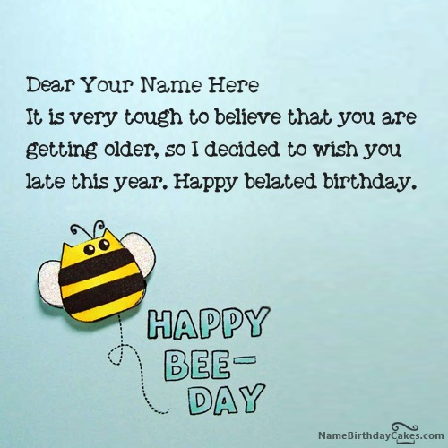 Write Name On Best Happy Belated Birthday Card