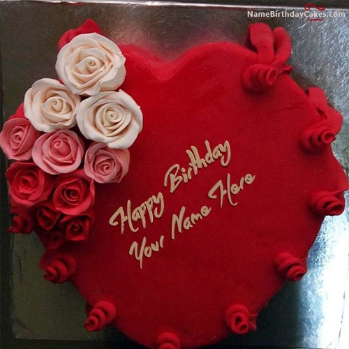 Write Name On Best Heart Red Velvet Birthday Cake