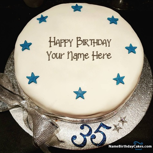 Cool Happy 35Th Birthday Images Of Cake With Name Personalised Birthday Cards Sponlily Jamesorg