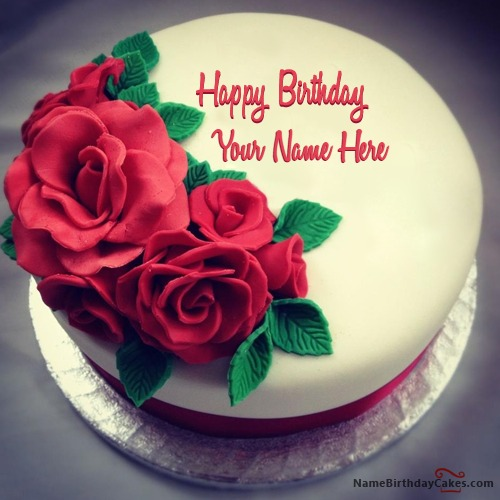 Best Roses Birthday Cake For Lover With Name & Photo