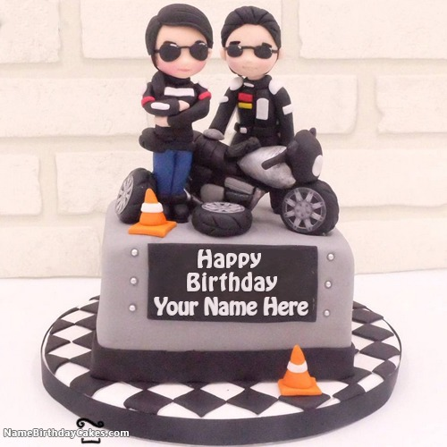 Write Name On Bikers Happy Birthday Cakes For Boys