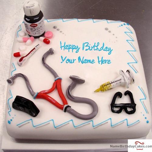 Phenomenal Birthday Cake For Doctor With Name Birthday Cards Printable Trancafe Filternl