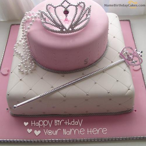 Pleasant Get Princess Birthday Cake With Name Birthday Cards Printable Trancafe Filternl