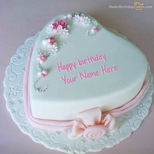 Birthday Cake Images With Name : Heart Shaped Birthday Cake With Name
