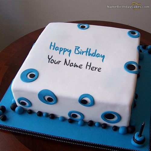 Blue Birthday Cake For Boys With Name & Photo