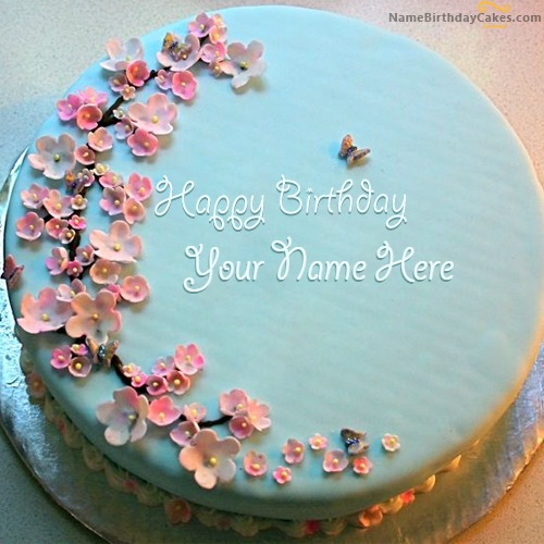 Write Name On Blue Birthday Cake For Wife
