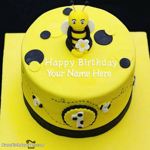Superb Bumble Bee First Birthday Cake With Name Personalised Birthday Cards Paralily Jamesorg