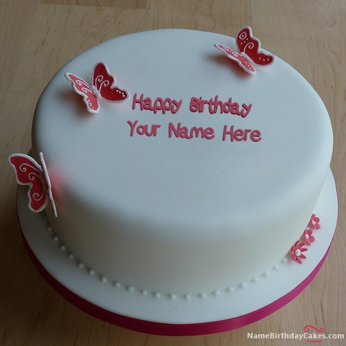 Butterflies Girly Birthday Cake With Name & Photo