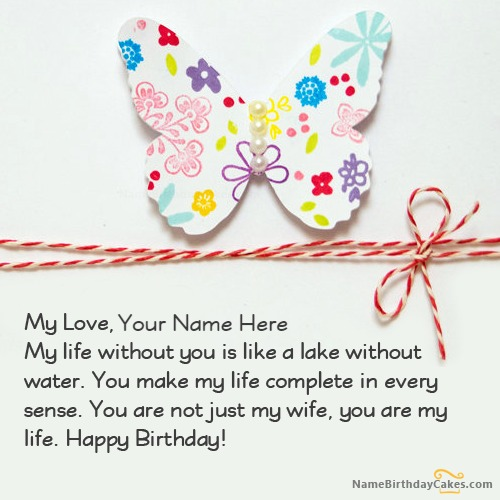 Butterfly Wife Birthday Card With Name & Photo