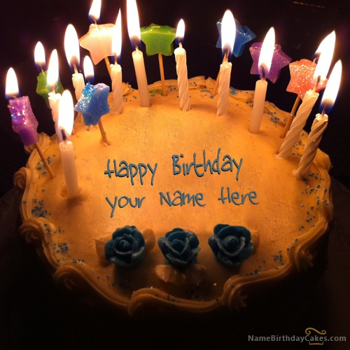 Candles Birthday Cake With Name