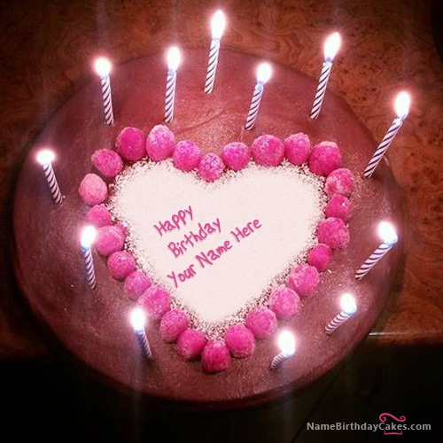 Candles Heart Happy Birthday Cake With Name
