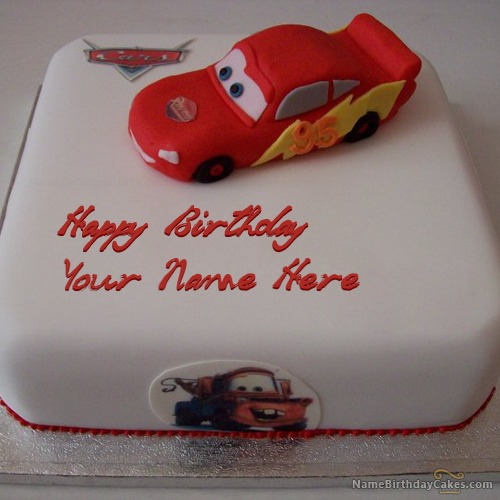 Car Birthday Cake for Kids With Name & Photo
