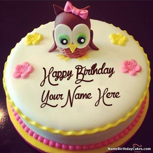 Cartoon Birthday Cake For Kids With Name & Photo