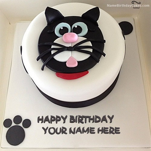Cat Birthday Cake For Kids With Name & Photo