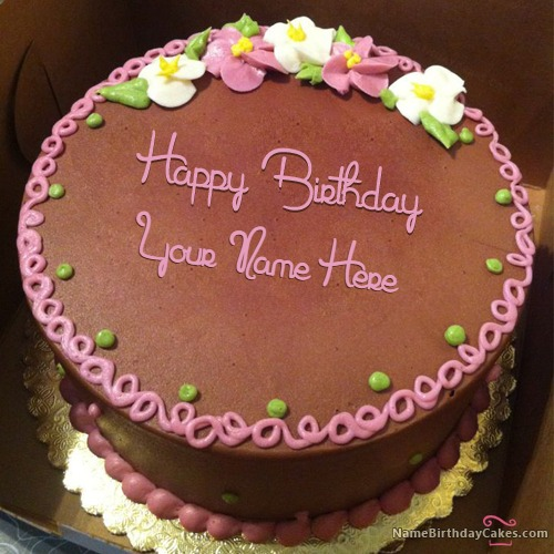 Chocolate Floral Birthday Cake With Name