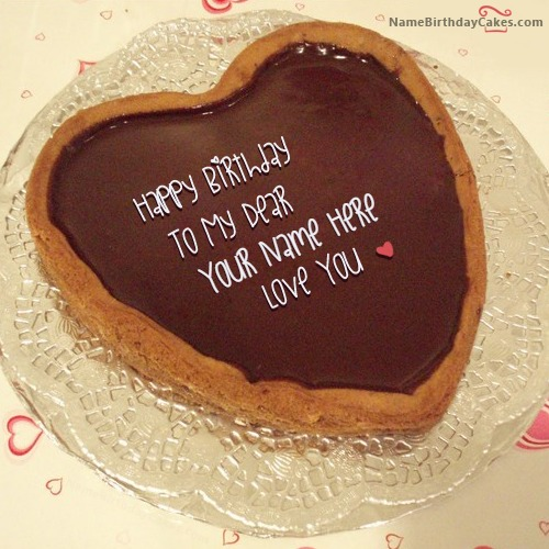Chocolate Heart Birthday Cake For Lover With Name