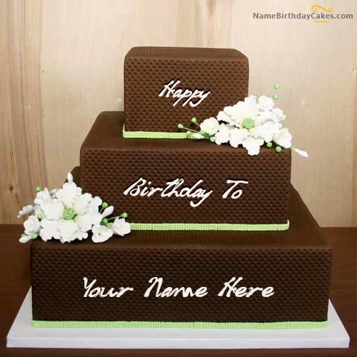 Chocolate Shaped Birthday Cake With Name & Photo