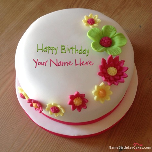 Write Name On Colorful Flowers Birthday Cake