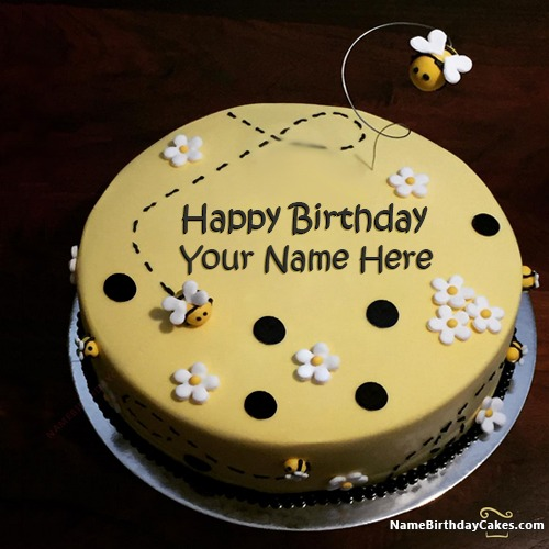 Cool Bumble Bee Cake For Kids Birthday With Name