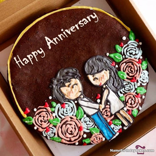 Couple Love Anniversary Cake With Name