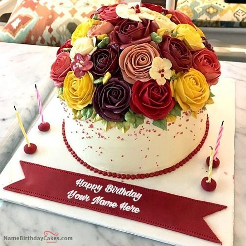 Birthday Kajal Name Cake Images : Creative Roses Birthday Cake With Name