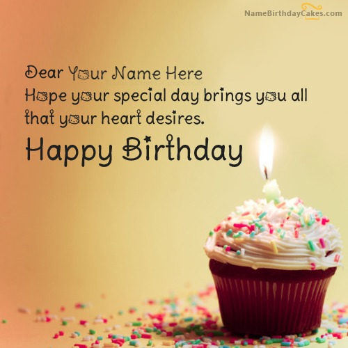 Cupcake Birthday Wish With Name. PlusQuotes