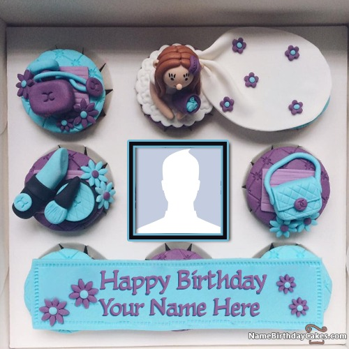 Cupcake Girls Wish Birthday With Name And Photo