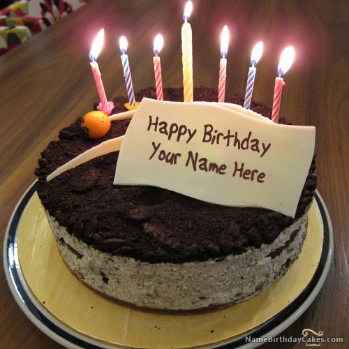 Terrific Chocolate Candle Birthday Cake For Friends With Name Personalised Birthday Cards Petedlily Jamesorg