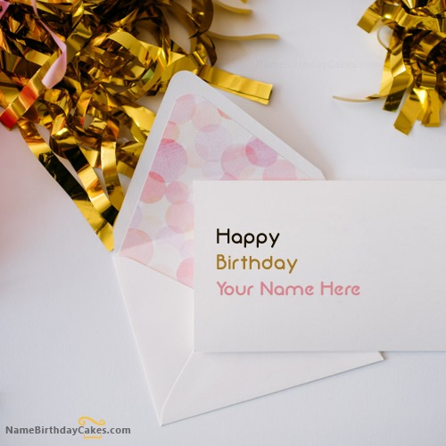 Write Name On Cute Birthday Card for Friend