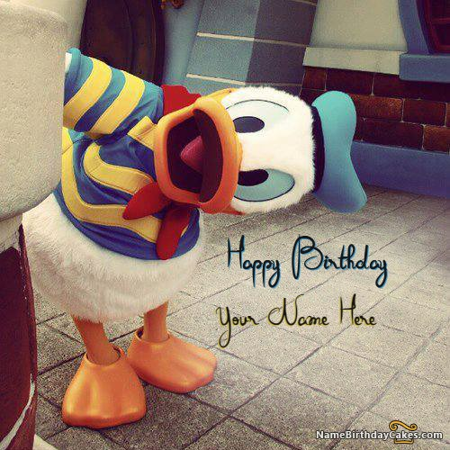 Write Name On Cute Duck Birthday Wish