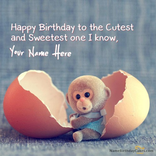 Write Name On Cute Monkey Birthday Wish