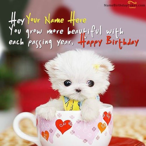 Cute Puppy Birthday Wish With Name