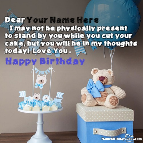 Write Name On Cute Teddy Bear Birthday Wishes For Lover