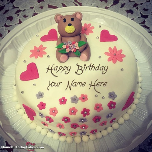 Write Name On Cute Teddy Bear Happy Birthday Cake For Girls
