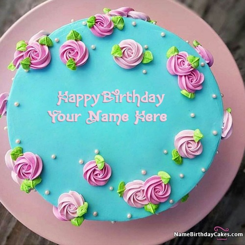 Decorated Flowers Happy Birthday Cakes With Name & Photo