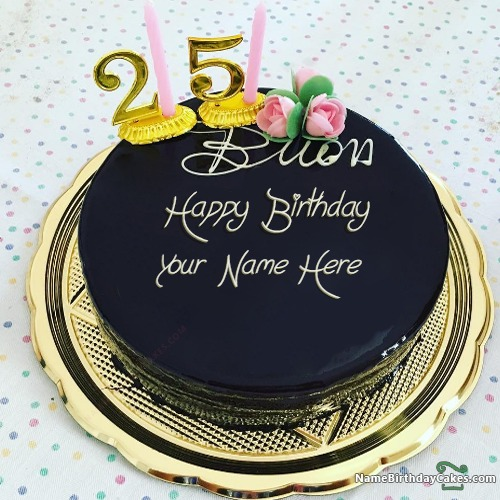 Prime Topper 25Th Birthday Cake With Name Funny Birthday Cards Online Alyptdamsfinfo