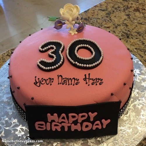 Superb Decorated Strawberry 30Th Birthday Cakes With Name Funny Birthday Cards Online Drosicarndamsfinfo