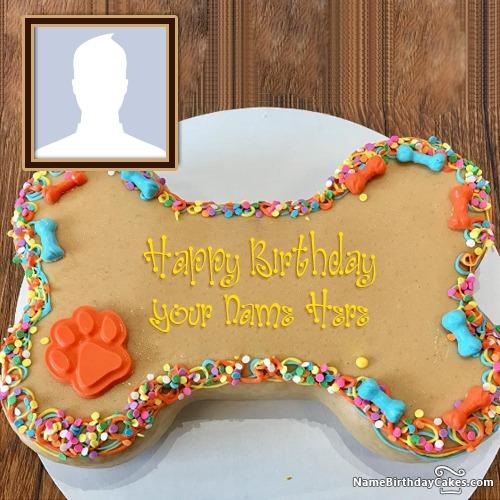 Dog Birthday Cake With Name And Photo