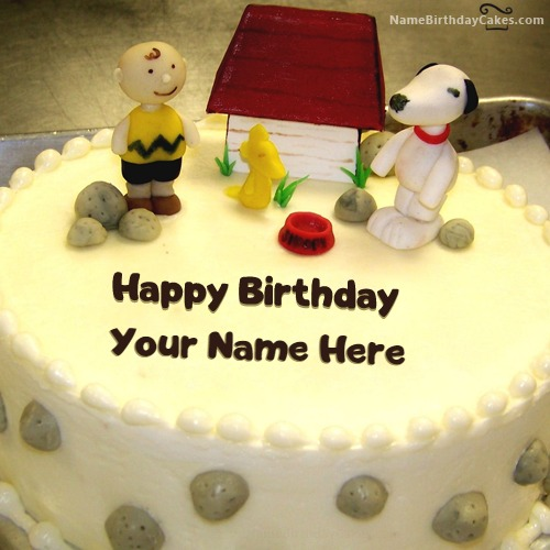 Write Name On Dog House Birthday Cake For Kids