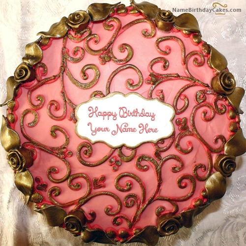 Write Name On Floral Birthday Cake For Girls