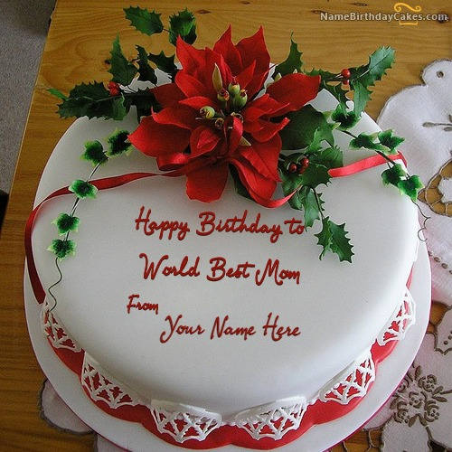 Write Name On Flower Birthday Cake For Mother