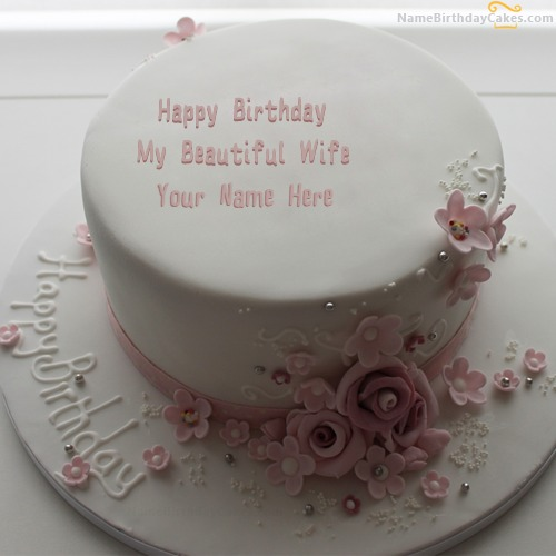 Bday Cake Images For Wife : Flowers Birthday Cake For Wife With Name