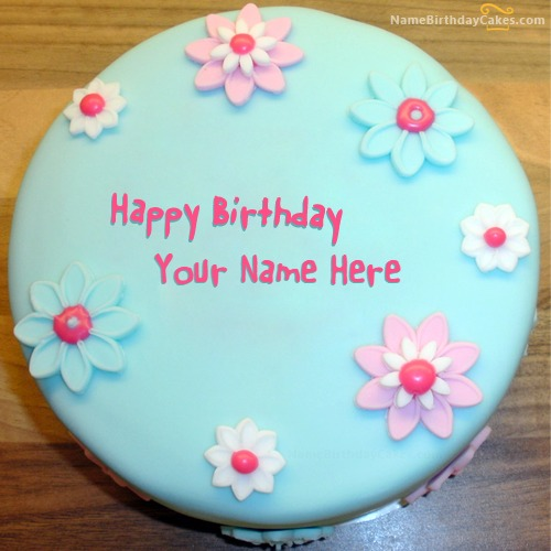 Cool Fondant Birthday Cake For Sister With Name & Photo