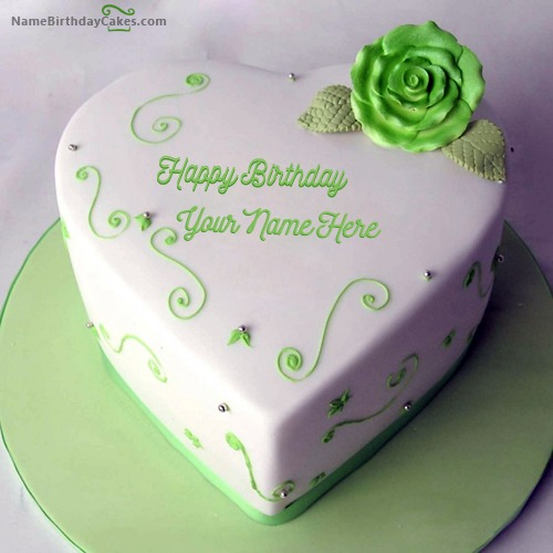 Write Name On Green Heart Birthday Cake For Lover